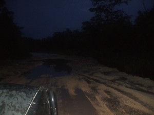 muddy road in Belize